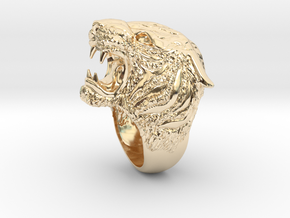 Tiger Ring s 7.5 in 14k Gold Plated Brass: 7.5 / 55.5