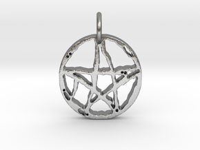 Rugged Pentacle 1 Keychain by Gabrielle in Raw Silver