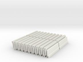 [40st] Halve Betonbarrier 1:87 (H0) in White Natural Versatile Plastic