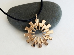 Sun Burst Pendant - Printed Sun in Fine Metals in Polished Bronze