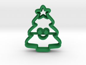Mini Xmas Tree Cookie Cutter in Green Processed Versatile Plastic