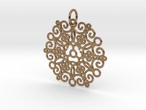 Round Cast Pattern Pendant in Interlocking Raw Brass