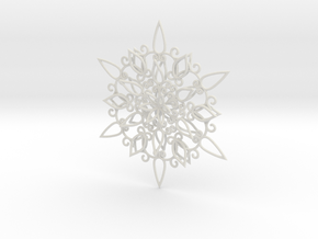 Floral Snowflake Christmas Ornament 1 in White Natural Versatile Plastic