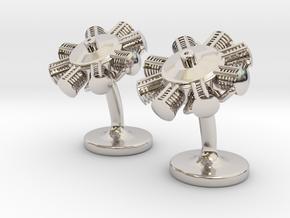 Radial Engine Cufflinks in Platinum
