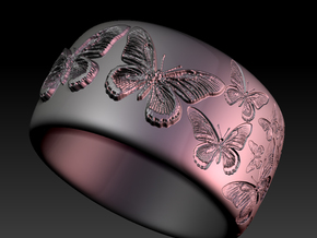 Butterfly Ring One in White Natural Versatile Plastic