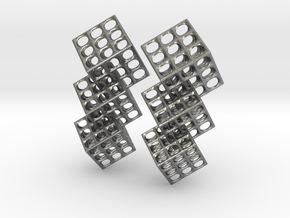 Triple Matrix Earrings in Interlocking Raw Silver