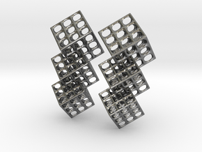 Triple Matrix Earrings in Interlocking Polished Silver