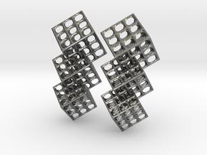 Triple Matrix Earrings in Polished Silver (Interlocking Parts)