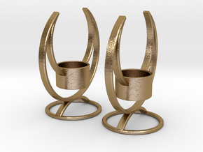 Solstice Candle Holder Pair in Polished Gold Steel