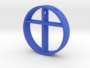 Cross pendant for men. in Blue Processed Versatile Plastic