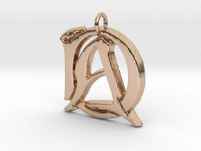 Monogram Initials AD.2 Pendant  in 14k Rose Gold