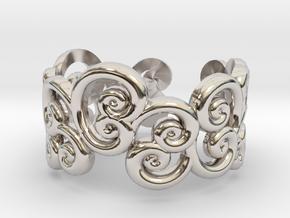 Ring Scroll in Rhodium Plated Brass