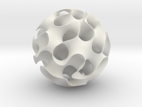 Gyroid, round, 164mm in White Natural Versatile Plastic