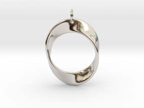 Mobius Strip Pendant in Rhodium Plated Brass