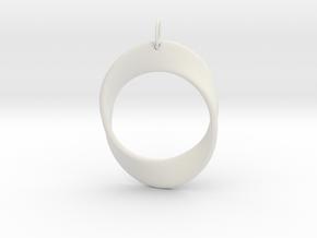 Mobius Strip Pendant in White Natural Versatile Plastic