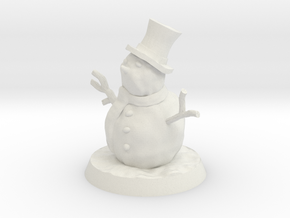 35mm Scale Snowman in White Natural Versatile Plastic