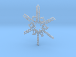 Candy Cane Snowflake in Smooth Fine Detail Plastic