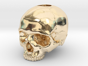 30mm 1.18in  Keychain Skull (8mm/0.31in hole) in 14k Gold Plated Brass
