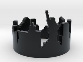 New York Skyline (Size 4.75-13) in Black Hi-Def Acrylate: 4.75 / 48.375