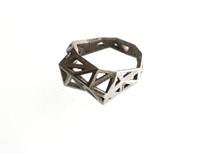 Slim Triangulated Ring in Metal in Polished Bronzed Silver Steel: 7.5 / 55.5