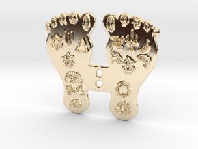 Goddess Mahalakshmi's Paduka Feet Frame Plaque in 14K Yellow Gold