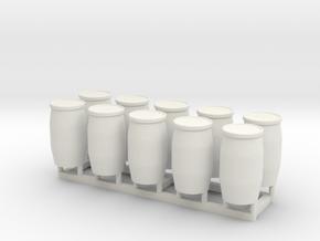 HO 10 Blue Barrels in White Natural Versatile Plastic