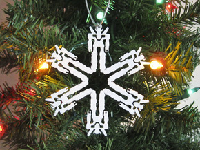 Snowflake Lion Force Ornament  in White Natural Versatile Plastic