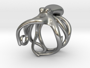 Octopus Ring 23.4mm(American Size 14.5) in Natural Silver