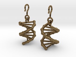 DNA Earrings in Polished Bronze (Interlocking Parts)