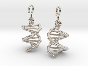 DNA Earrings (One Piece) in Rhodium Plated Brass