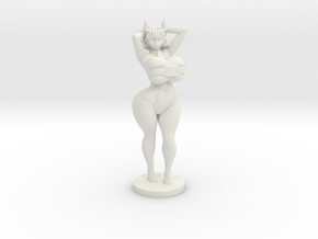 Moo the Minotaur - 40mm Miniplastic in White Natural Versatile Plastic