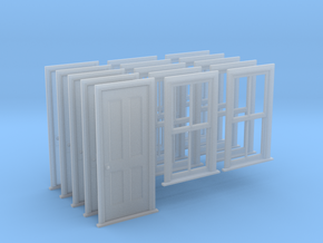 HO Scale Bunkhouse Door And Windows 5 Sets in Smooth Fine Detail Plastic