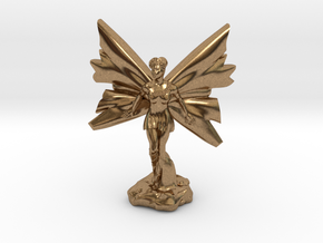 Fairy with large wings, in flight 30mm scale in Natural Brass