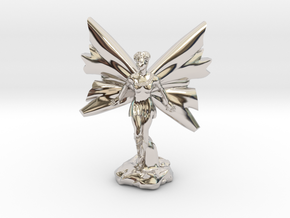 Fairy with large wings, in flight 30mm scale in Rhodium Plated Brass