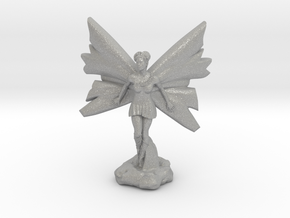 Fairy with large wings, in flight 30mm scale in Raw Aluminum
