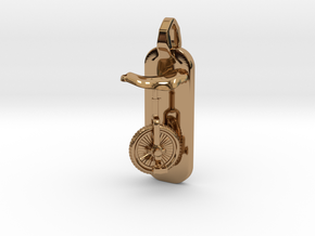 Unicycle Pendant in Polished Brass