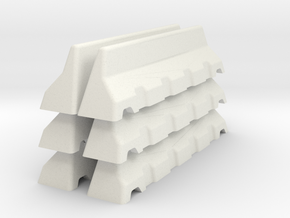 Concrete Road Block X 6 (Short) in White Natural Versatile Plastic