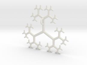 Flat Linear Trivalent Tree Pendant in White Natural Versatile Plastic