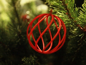 spiral christmas ball small in Red Processed Versatile Plastic