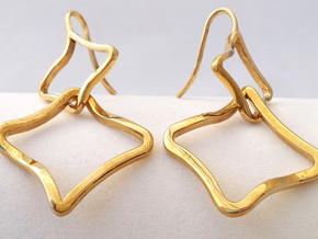 EARRINGS SOFT QUAD in Polished Brass (Interlocking Parts)