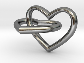 Two hearts in Interlocking Polished Silver