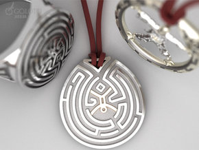 WestWorld maze Pendant in Polished Nickel Steel: Small