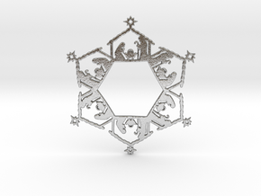 Nativity Snowflake Ornament in Natural Silver