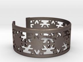 Snowflake Bracelet Large in Polished Bronzed Silver Steel
