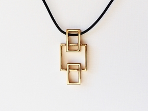 Pendant - Interlocking Geometry in Interlocking Polished Bronze