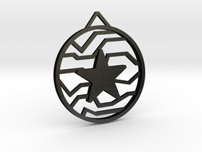 Winter Soldier Star Pendant (Medium) in Matte Black Steel