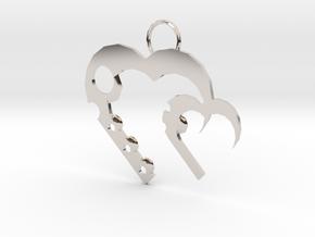 Alicias Hearts in Rhodium Plated Brass: Medium