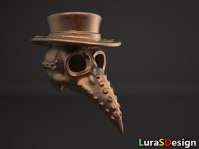 Plague Doctor Skull in Polished Bronze Steel
