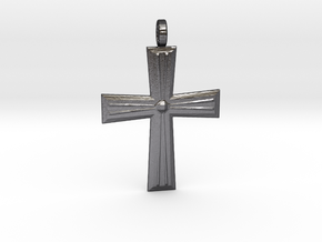 Cross Pendant in Polished and Bronzed Black Steel