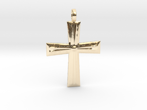 Cross Pendant in 14k Gold Plated Brass